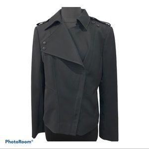 Ann Taylor Black Moto Asymmetrical Jacket Blazer